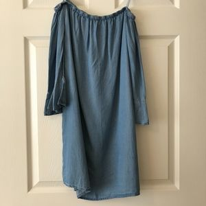 NWT Chambray Strapless Bell Sleeve Dress